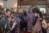Во вторник седмицы 2-й Великого поста епископ Николай совершил Литургию Преждеосвященных Даров в храме на скиту в с.Скворчиха