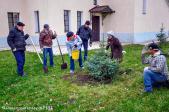 Осуществлена посадка елей на территории Свято-Успенского кафедрального собора г. Салавата